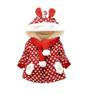 Toddler Red White Bunny Coat